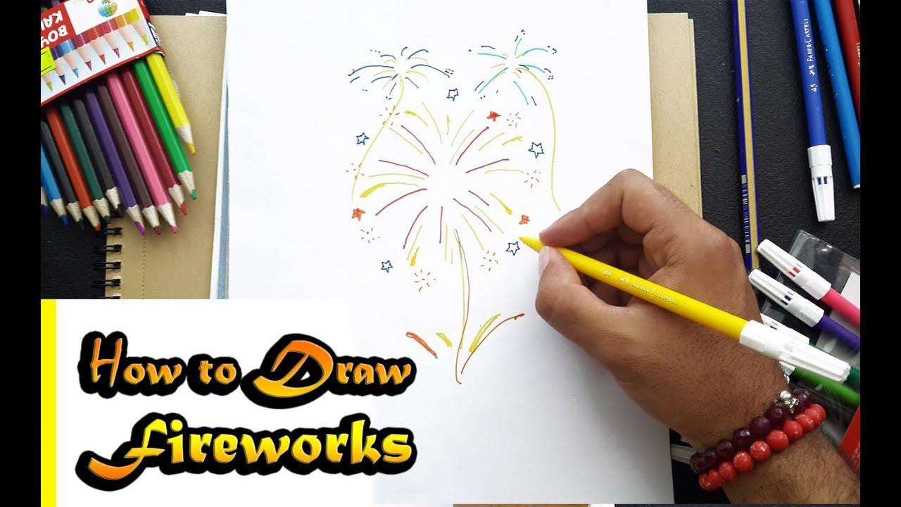 how to draw fireworkl step by step easy havai fisek nasil cizilir