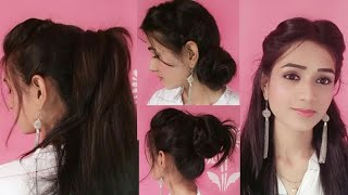 ❤EASY Everyday Hairstyles With Volume❤||Front Puff with Side Bun, High ponytail