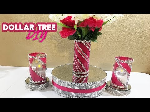 DIY ELEGANT DOLLAR TREE VASE AND GLASS BLING WRAP CANDLE HOLDER 2019 | GIRL BABY SHOWER CENTERPIECE