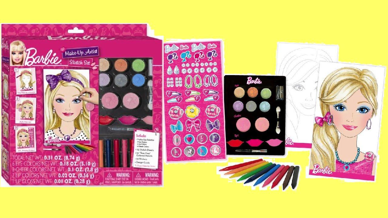 barbie princess makeup artist set unboxing kids how to make up
