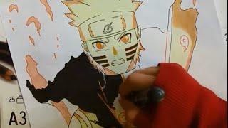 Naruto Shippuden Naruto Nine-Tails chakra mode Speed Drawing  ( −ナルト− 疾風伝 )