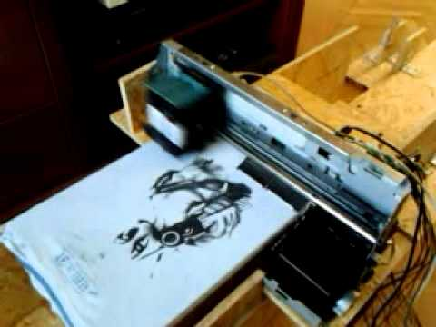 Hp 940c t shirt printer homemade youtube for Printing your own t shirts at home