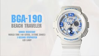 OFFICIAL VIDEO ~ BGA-190 ~ CASIO ~ Baby-G ~ LovinLifeMM(CASIO Japan releases the new Baby-G BGA-190 ladies watch. Equipped with a Dual Dial World Time Display, this water resistant, shock resistant, and ..., 2015-03-31T19:06:14.000Z)
