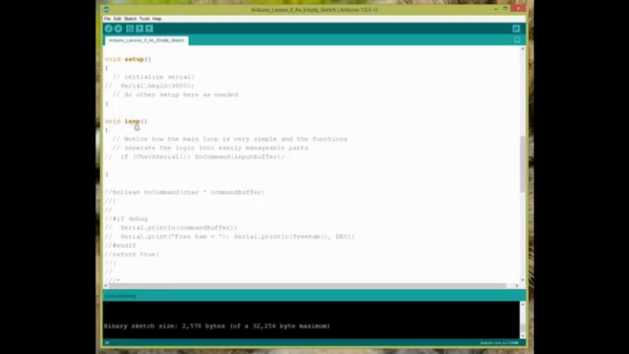 Arduino lesson size of an empty sketch youtube