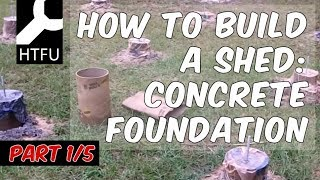 Step One of Building a Shed: How to Build a Shed with a Concrete Pier Foundation - Very Easy!