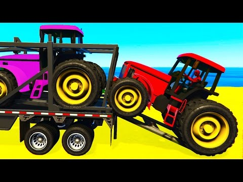 FUN COLOR TRACTOR Transportation - Spiderman Cartoon for Toddlers w Colors for Kids Nursery Rhymes Mp3