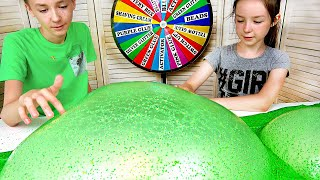 SKITTLES IN SLIME!!🍬🍭MYSTERY WHEEL OF SLIME GLOVES CHALLENGE WITH MYSTERY BOX! HUGE SLIME BUBBLES!
