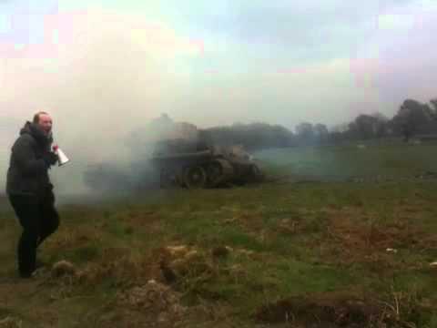 T-34/85 tank firing