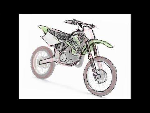 How To Draw Dirt Bike 2 Stroke Youtube