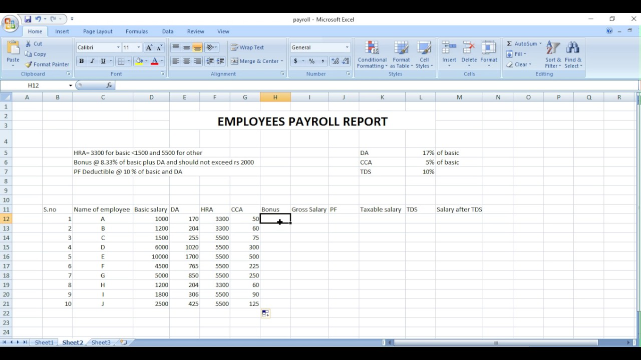 payroll sheet excel in hindi youtube