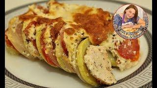 Как вкусно приготовить кабачки с куриным филе, луком и помидорами в духовке.