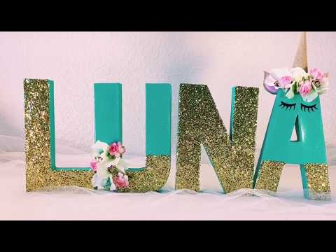 🍼UNICORN BABY SHOWER DECOR | DIY CHIPBOARD/CARDBOARD LETTER ART