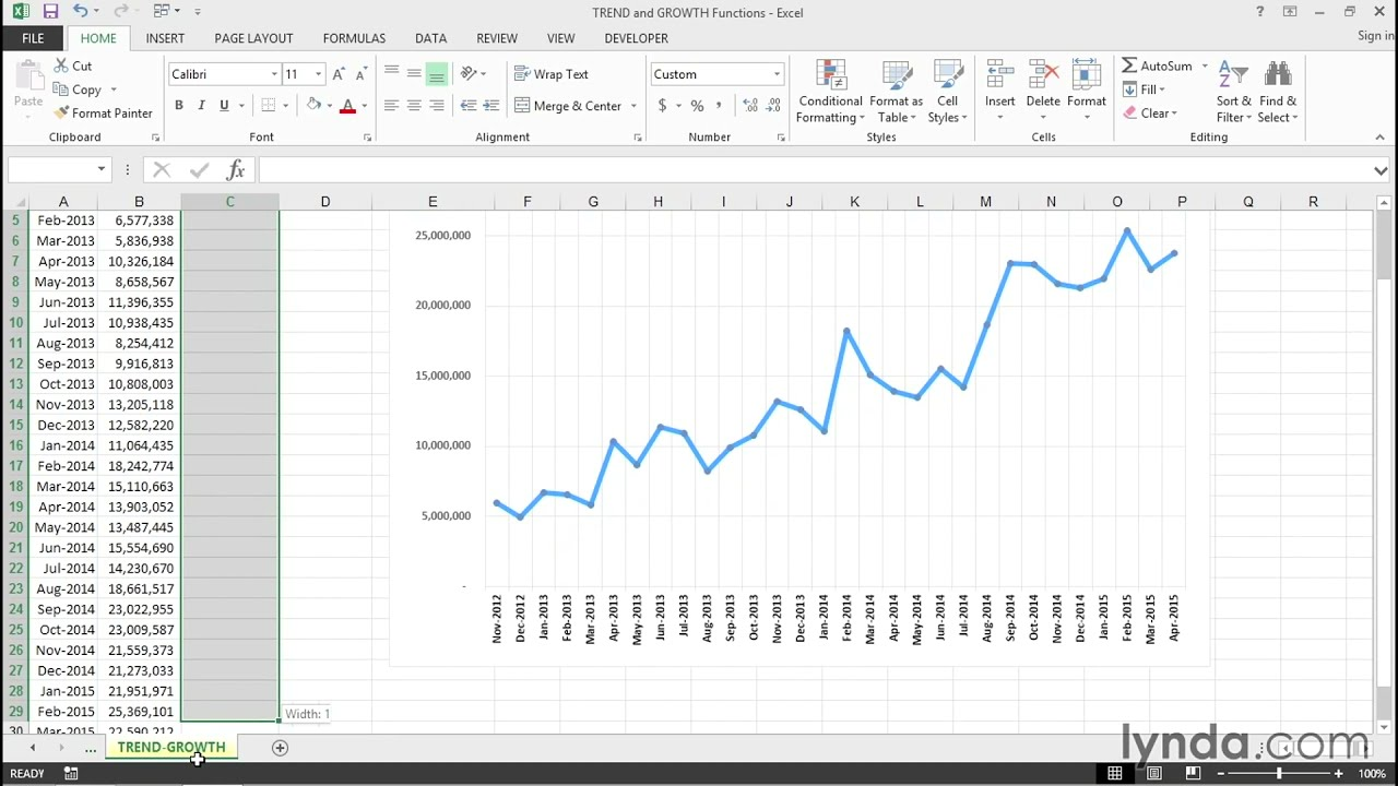 Trend And Growth Functions Excel Tips Lynda