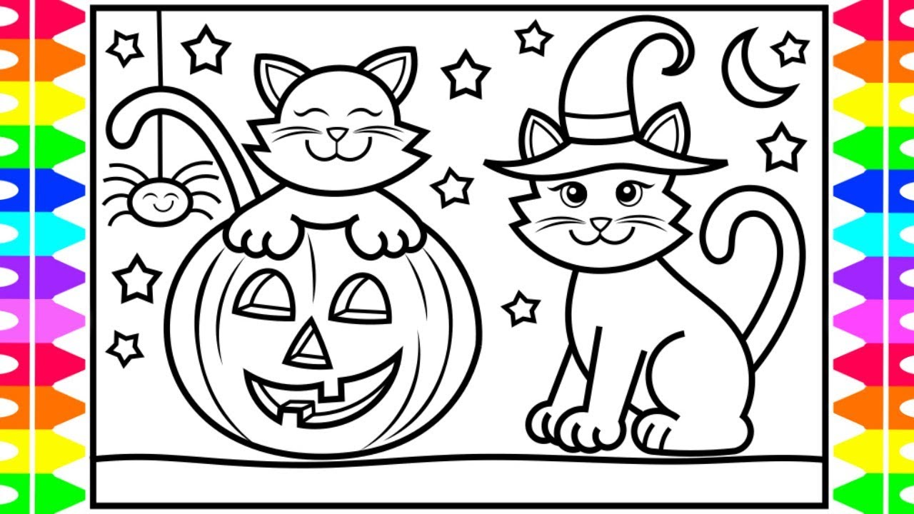 How to Draw a Halloween Cat for Kids 🐱🎃💜💚🖤 Halloween Cat ...