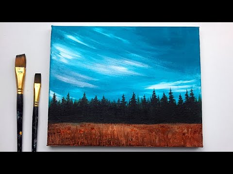Calm Sky Forest Easy Simple Acrylic Painting Step By Step For Beginners Youtube
