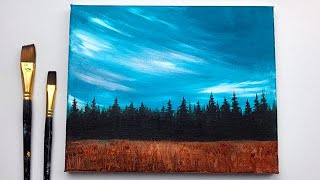 Acrylic Painting For Beginners Step By Step | Calm Sky & Forest | Acrylic Painting Ideas