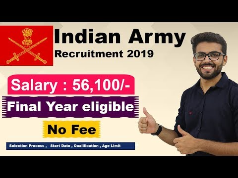 Indian Army Recruitment 2019 | Salary 56,100 | Final Year Eligible | B.E / B.Tech Latest Job 2019