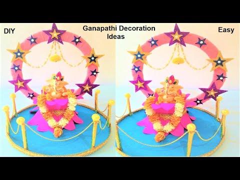 ganpati decoration ideas 2018 | makhar ideas | dyi decoration at home | eco friendly | table decor