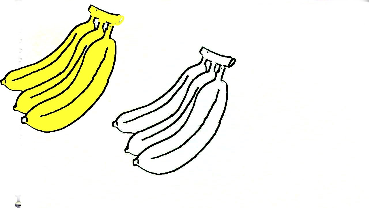 How To Draw A Banana In Easy Steps For Children Beginners Youtube