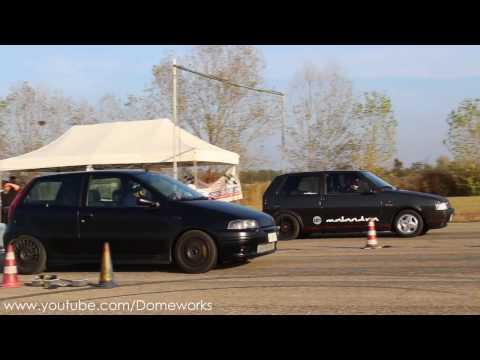EPIC! Fiat Punto GT Turbo VS Fiat Uno Turbo I.E.  Drag Race on 1/4 Mile
