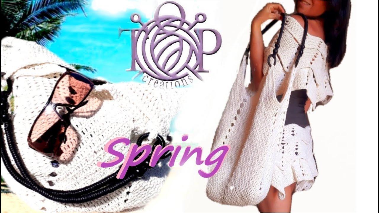 Completo Spring! Borsa mare + porta oggetti facilissima Crochet!