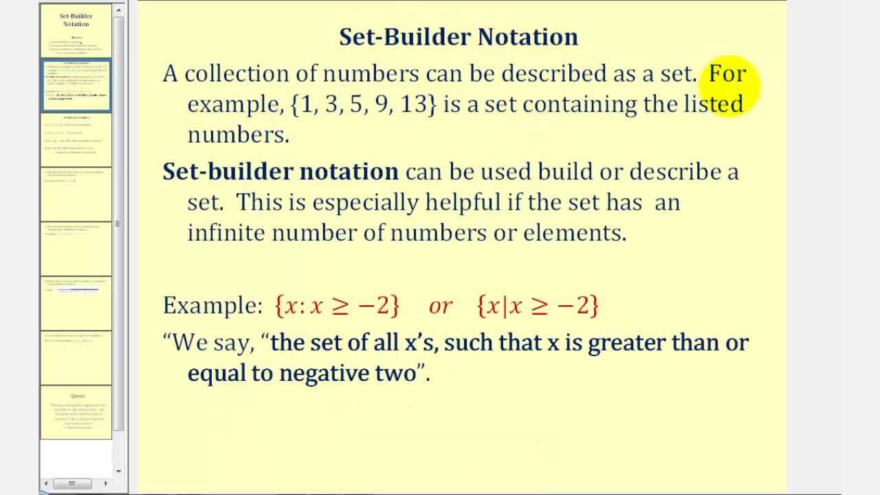 Set builder notation youtube for Finding a builder