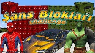 Örümcek Çocuk Şans Blokları Challenge Örümcek Adam Hulk Minecraftta Kapışıyor
