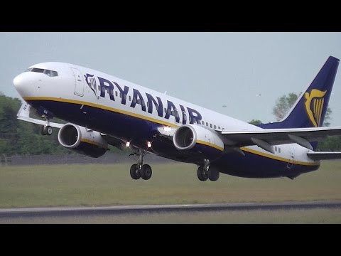 Ryanair Boeing 737-800 Taking Off from Dublin Airport, Ireland