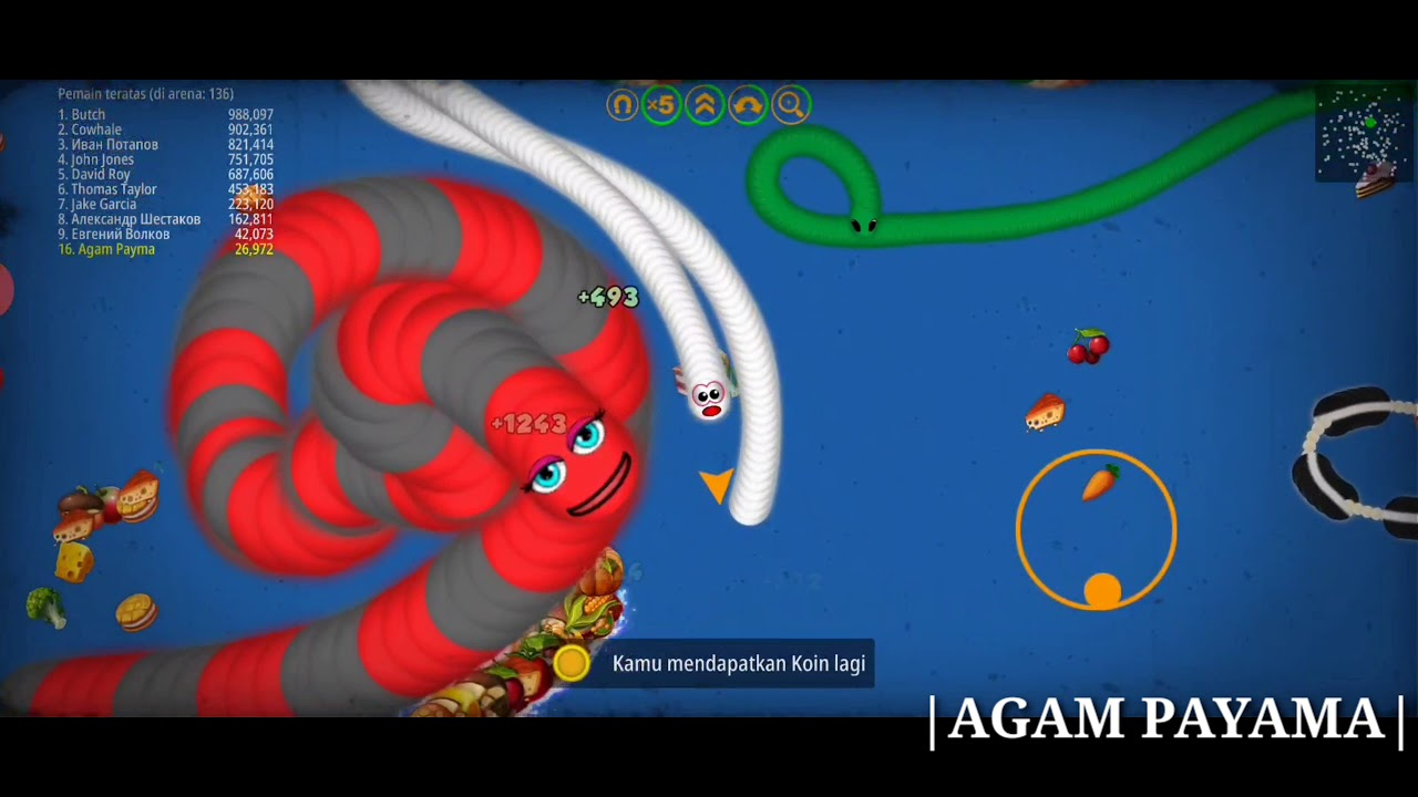 SLITHER I.O SUPER RED RUN worm zone