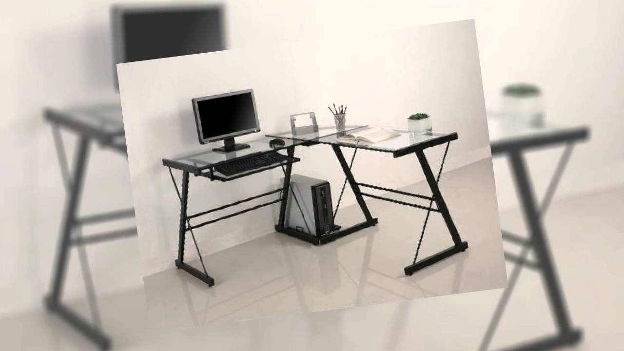 Walker Edison Soreno L Shaped Computer Desk Glass