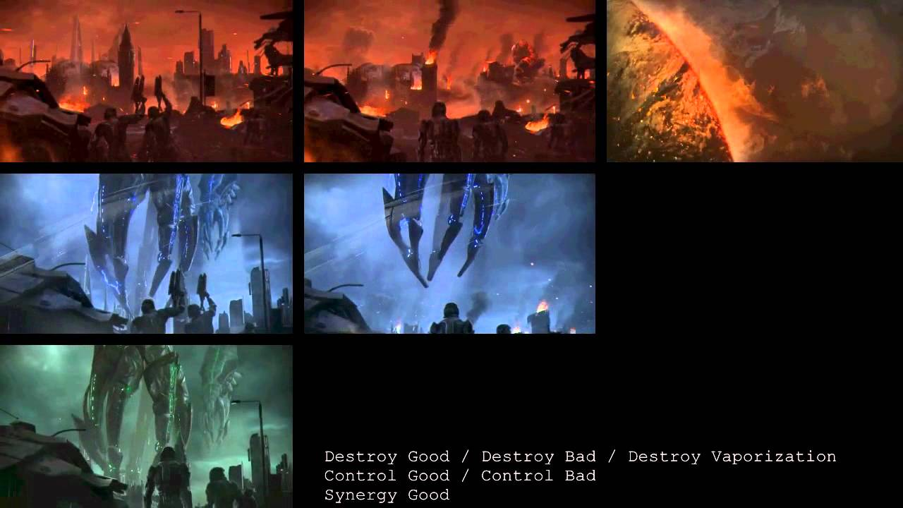 mass effect 3 ending movie comparison all the colors. Black Bedroom Furniture Sets. Home Design Ideas