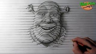 Как нарисовать простой рисунок 3D карандашом на бумаге  ШРЕК. How to draw 3D pencil Shrek