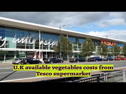 U.K general available vegetables & costs from Tesco supermarket