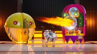 Robot Pacman VS Robot Ghost in Crazy Maze