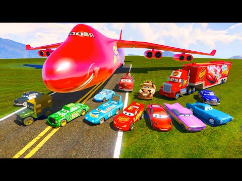 Thumbnail: McQueen Сargo Plane and Friends The King Chick Hicks Mack Tow Mater McMissile Hudson Ramone & Songs