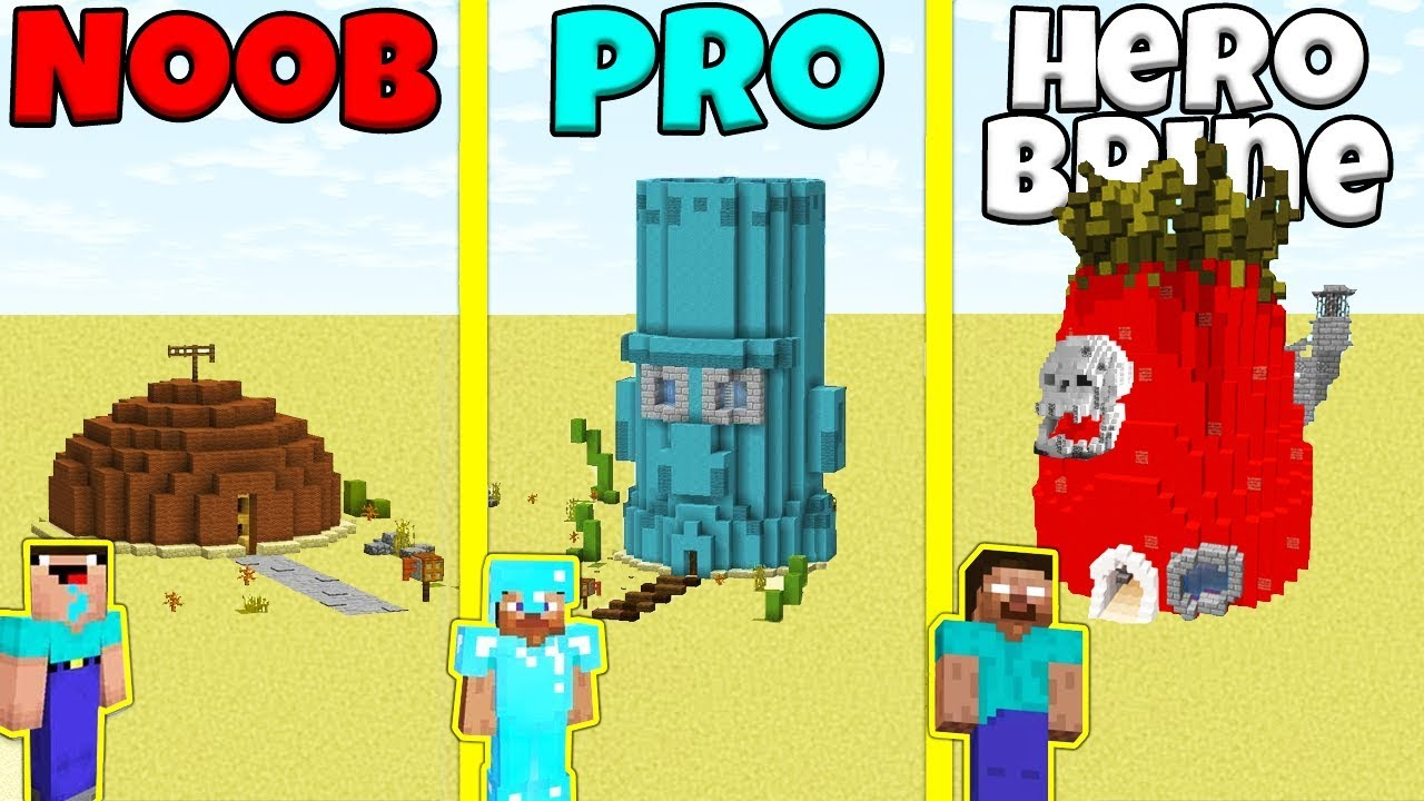Minecraft Battle  Noob Vs Pro Vs Herobrine  Sponge Bob House Build Challenge    Animation
