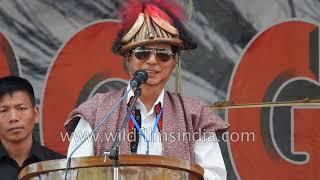 Tamiyo Taga, Minister of Power of Arunachal Pradesh speaks at Unying Gi:Di festival