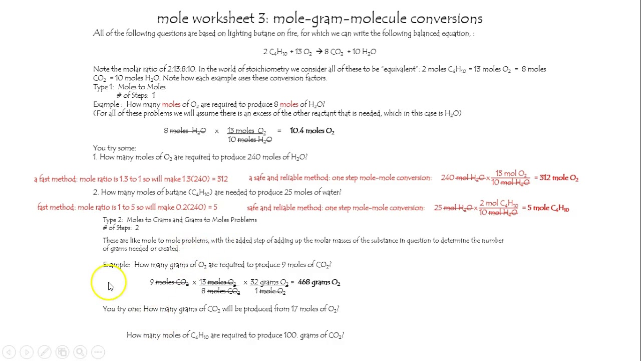 mole worksheet 3 mole-g-molecule conversions