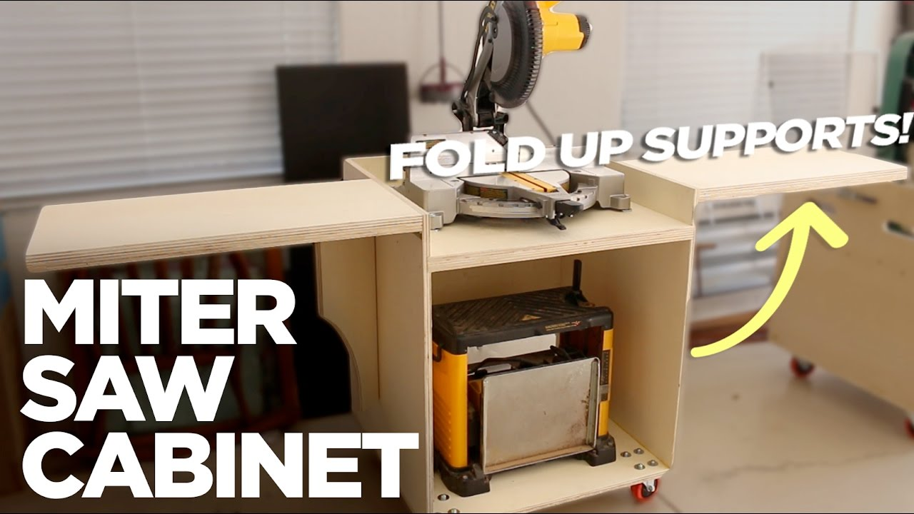 Rolling Miter Saw Cabinet W Folding Support Wings Free Plans