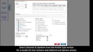 LexisNexis Academic: Finding an Editorial or Opinion Piece