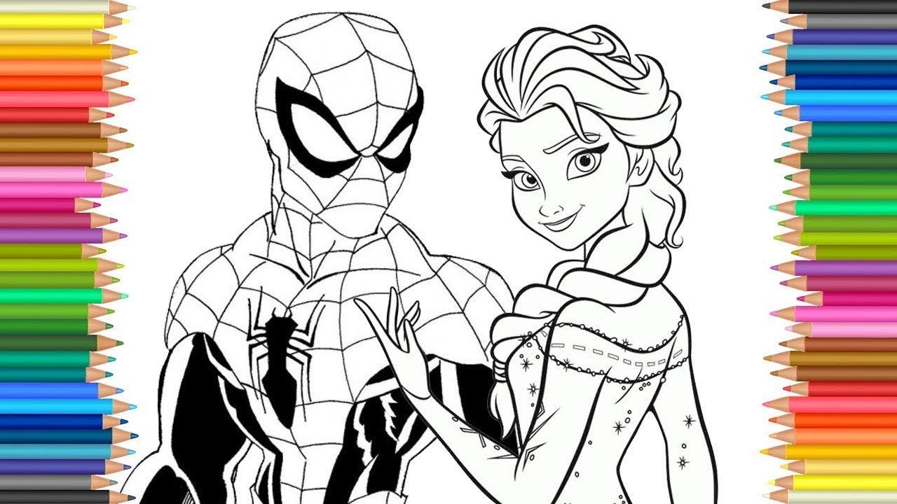 Colorir Elsa Frozen E Homem Aranha Spider Man Com Pintura Colorida