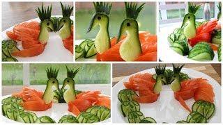 Super Salad Decoration Ideas - Cucumber & Tomato Swans Plate Decoration