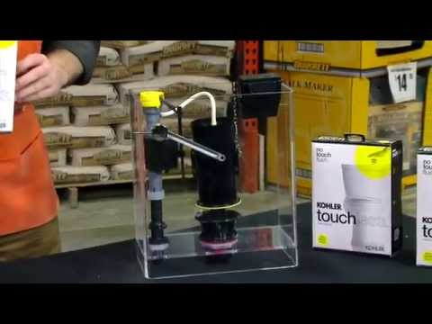 kohler touchless toilet flush kit the home depot youtube. Black Bedroom Furniture Sets. Home Design Ideas