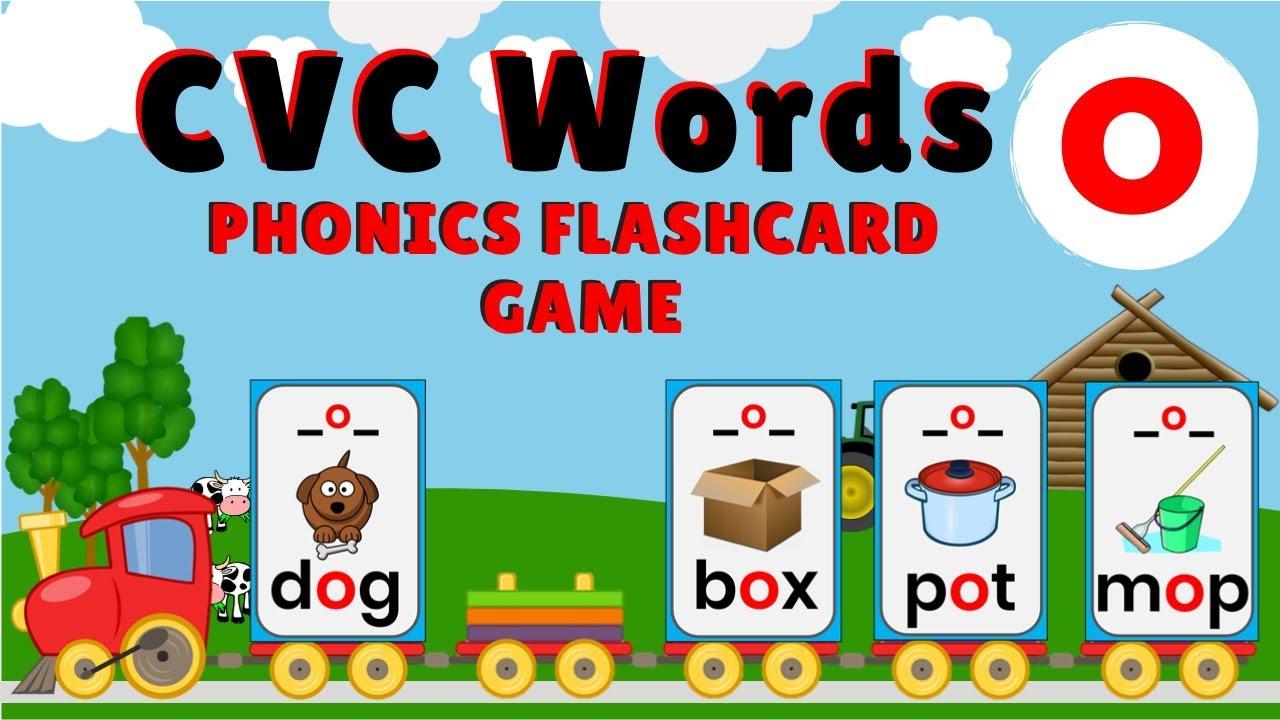 Cvc Words Letter O Phonics Flashcard Game The Phonics Train Youtube