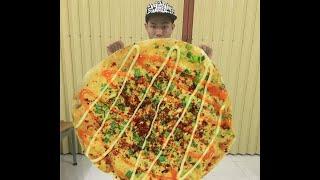 Học theo bà tân vlog làm bánh tráng nướng khổng lồ. Đủ ăn không đủ đẹp