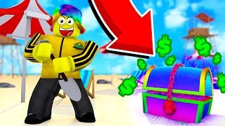 This RAINBOW CHEST that NEVER SPAWNS made me TOO RICH (Roblox Treasure Hunting Simulator)