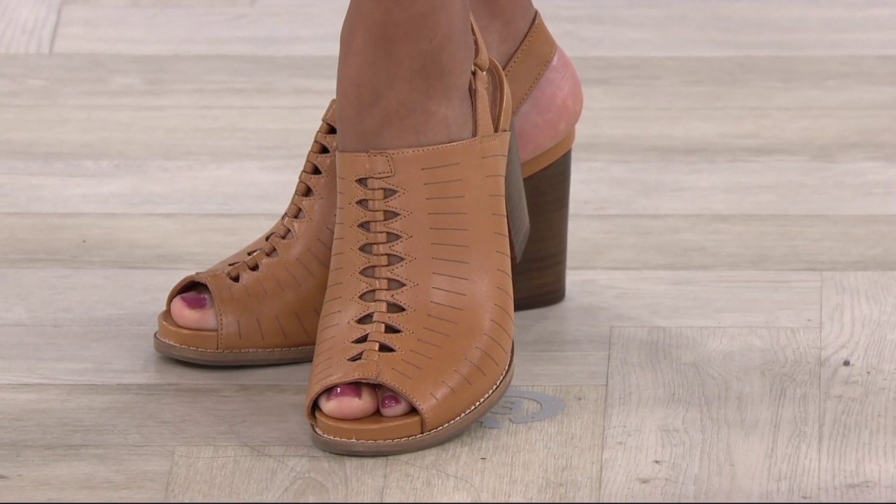 8007f0e2b8296d Clarks Artisan Leather Block Heel Sandals - Briatta Key on QVC - YouTube