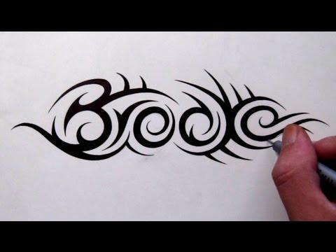 Custom Tattoo Designs - Hidden Tribal Name Brooke