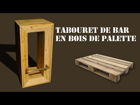 Tabouret de bar en bois de palette youtube for Bar exterieur en bois