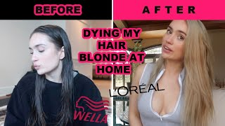 Bleaching my hair from brown to blonde at home  wella t18 (in 24 hours)